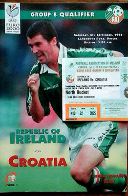 Republic Of Ireland V Croatia 5/9/1998 Euro Championships +  Ticket