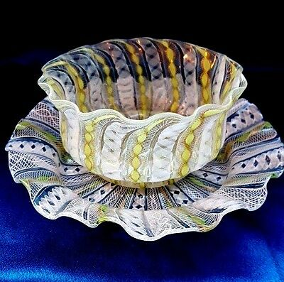 Venetian  Latticino Glass Set of Bowl and Plate Ribbon Twist Stripes.Very Sweet!