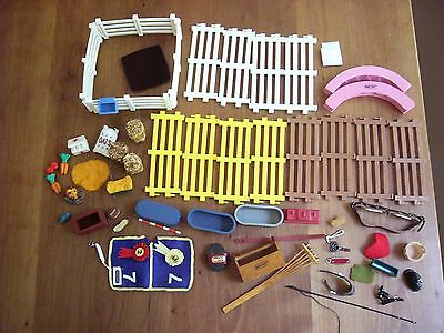 Lot of Breyer-Corral Fencing, Oats, Bales, Accessories Etc