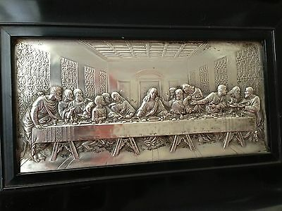 Vintage White Metal Religious Plaque  -The Last Supper Framed 1900's