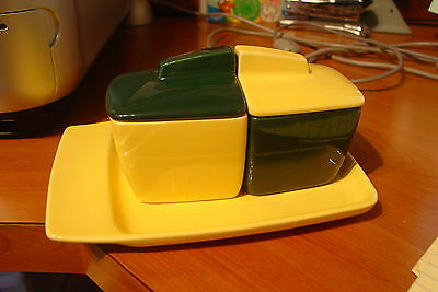 Vintage Franciscan El Patio Toast & Jam/Jelly Set Dk Green & Bright Yellow