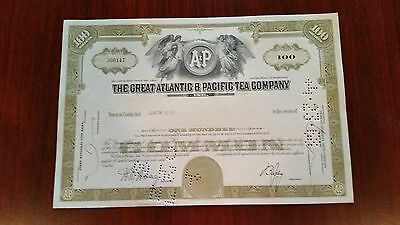 #170001 Stock Certificate For The Great Atlantic & Pacific Tea Co.  (A&P) 1968