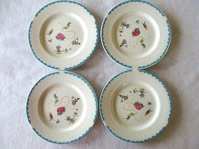 "4 Piece Childrens Plate Set~6 3/4"" Porcelain ""Nice Mice""~HTH~Made In England~EUC"