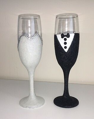 Bride and Groom Glitter Glass