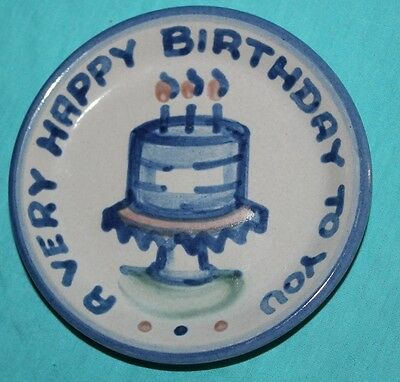 M.A.Hadley Art Pottery BIRTHDAY Cake COASTER Plate Louisville KY signed