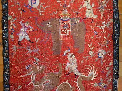 Antique Hand Embroidered Chinese Panel - dragons, elephants, figures