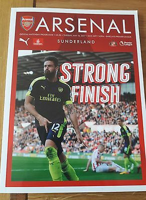 ARSENAL v SUNDERLAND  - TUESDAY 16TH MAY 2017 PROGRAMME