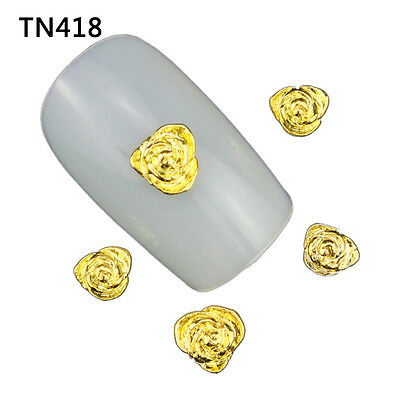Newest 10pcs 3D DIY Nail Art Alloy Metal Gold Glitter Jewelry Manicure Hot TN418