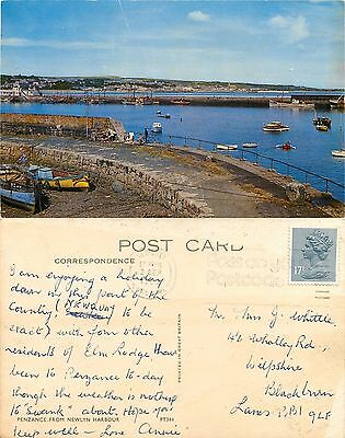 s07127 From Newlyn Harbour, Penzance, Cornwall, England postcard 1986 stamp
