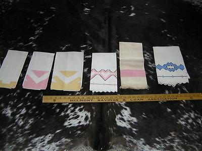 Lot of 6 Antique LInens & Laces Finger Towels Embroidery Art Deco Geometric
