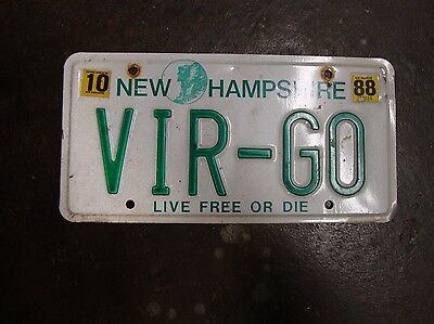 Personalized New Hamshire License Plate (VIR-GO) 1988