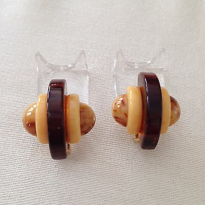 Deco Style Jorge Caicedo Montes de Oca Bakelite Marble/Brown/Ivory Clip Earrings