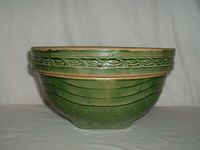 "Large 11 1/2"" McCoy Yellow Ware Nested Shoulder Bowl Green"