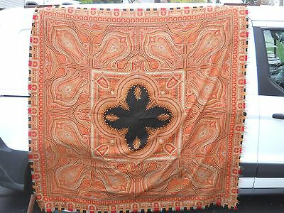 "Antique 19Th Century Kashmir Paisley Shawl Scarf 68""by 68"""