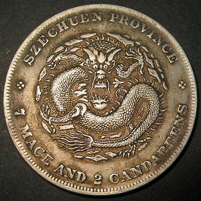 Silver Dragon Dollar SZECHUAN Emperor Guangxu CHINA 7 Mace 2 Candareens 1901-08