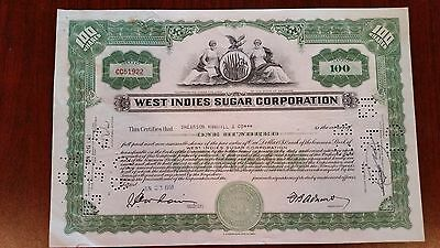 #170002 Stock Certificate For The WEST INDIES SUGAR CORPORATION 1950