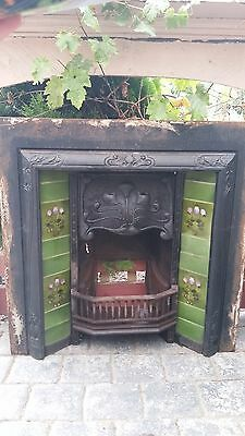 Art Nouveau Original Cast Iron Fireplace With Original Tiles