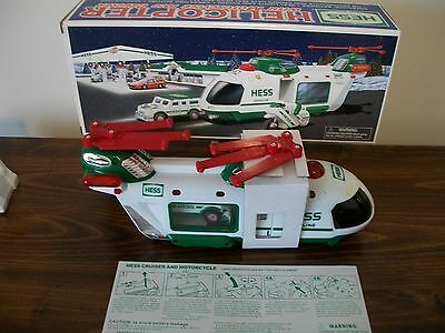 2001 Hess Truck Helicopter With Motorcycle And Cruiser