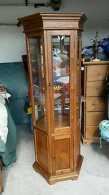VINTAGE 1960'-1970's HEXAGON SHAPED CABINET. WOOD & GLASS. PICK UP ONLY !