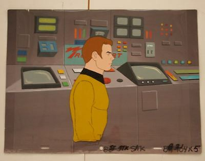 STAR TREK Captain James T Kirk Original Production Cel Cartoon Background TV