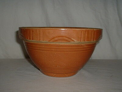 "Vintage 8 1/2"" Yellow Ware Oven Ware Mixing Bowl Light Brown USA"