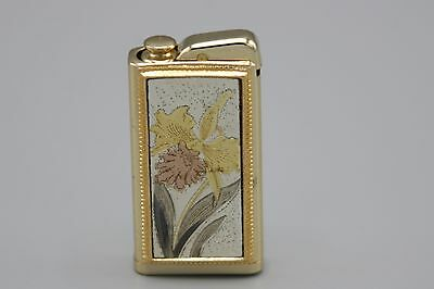Nacon Japan Perfume Atomizer Vintage 50s Etched Orchid Gold Tone Purse Size