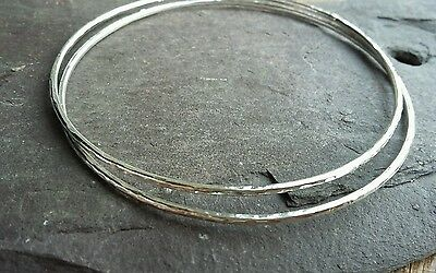 2 x Beautiful Handmade Solid 1.5mm 925 Sterling Silver Hammered Bangle Bracelet