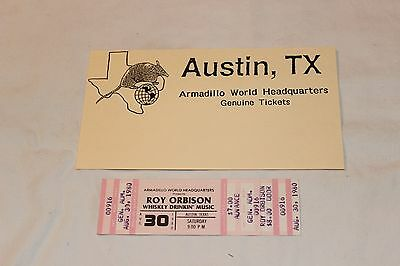 Roy Orbison UNUSED Concert Ticket and Company Ad-ARMADILLO WORLD HEADQUARTERS