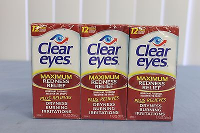 3 Pack Lot Clear Eyes MAXIMUM Redness Relief Dryness Eye Drops 1 oz Exp. 09/2019