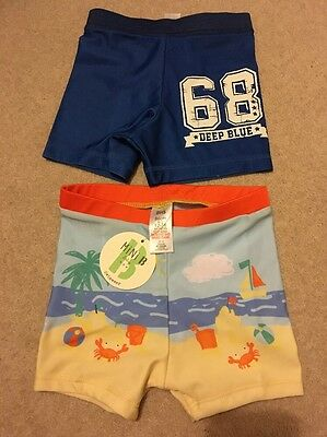 Brand New 2x Baby Boys Swim Shorts (9-12m)  12-18 Months Seaside BHS & George