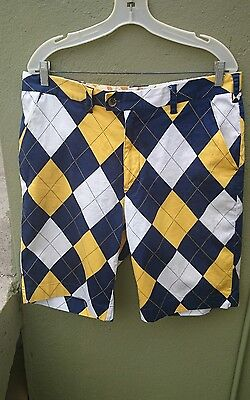 Mens LOUDMOUTH Golf  Blue / Yellow Argyle Shorts size 36 Loud Mouth