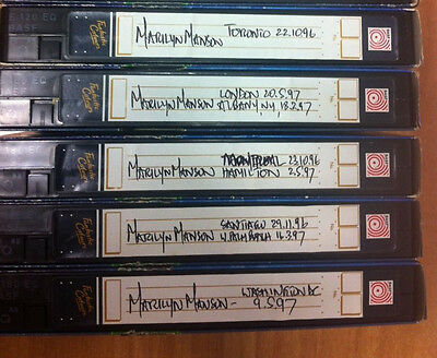 7 Vhs Marilyn Manson With 12 Concert Tapes Pal Free Shipping