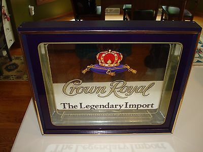 Authentic Rare Purple Wood Framed CROWN ROYAL Whiskey Shadow Box Mirror Sign WOW