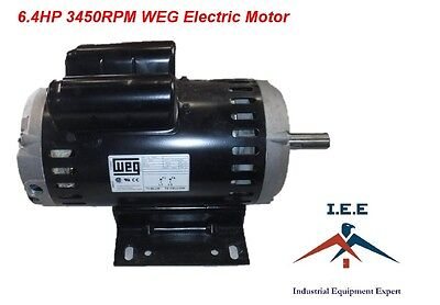 "6.4 Hp Electric Motor For Compressor 182/4 Y Frame 3510 Rpm 7/8"" Shaft 23 Amps"