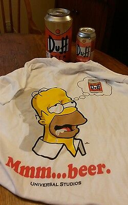Vintage Universal Studios The Simpsons Duff Beer Can Homer T Shirt Energy Drink