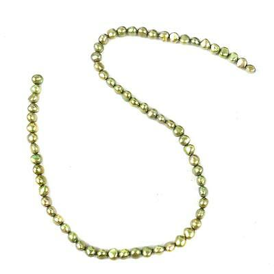 FP03.  JHGP83 Bright Green Cultured Baroque Pearls 7x6mm