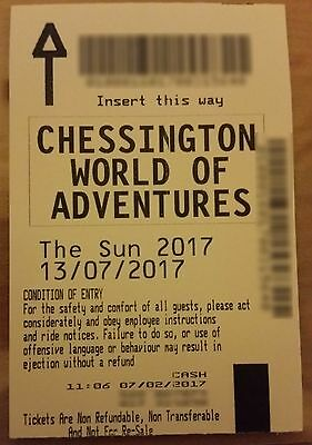 Single Chessington Ticket * Thursday 13Th July 2017 - 13/07/2017* Paper Ticket