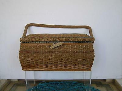 Antique Edwardian Victorian Small Wicker Sewing Basket