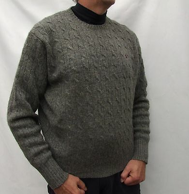 RALPH LAUREN POLO 100% Lambswool crew neck jumper cable knit - XL