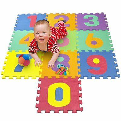 Foam Play Numbers Puzzle Mat Floor Learning Study Kids Mat Interlocking Pieces