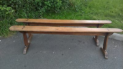Pair of 19th Century English Oak Farmhouse Benches/ Church Pews-Lovely Patina