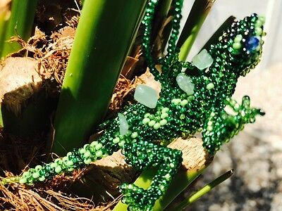 Handmade Guatemalan Beaded Lizard Ornament Decoration Gift Sun Catcher