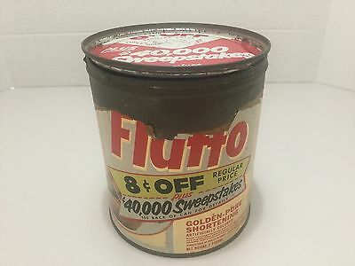Vintage  Fluffo Pure Shortening Can With Paper Label Sweepstakes Cents Off