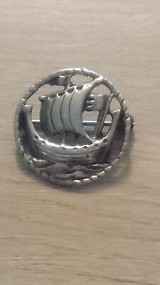 Vintage Sterling Silver Scotland Scottish Viking Boat Brooch Alexander Richie st