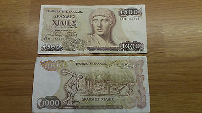 2 x 1000 Thousand Greek Greece Drachma Bank Note Notes 1987