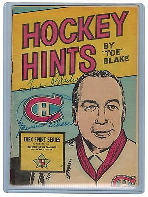 """Chex """"Hockey Hints"""" booklet  Auto by Toe Blake and Maurice Richard"""