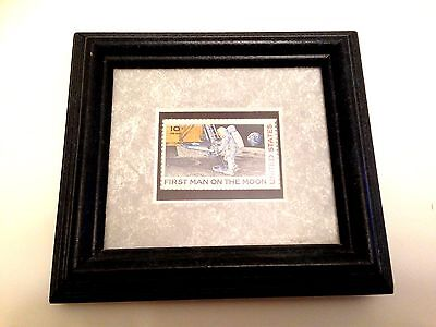 FRAMED USA 1969 First Man on the Moon 10c Air Mail STAMP - MINT