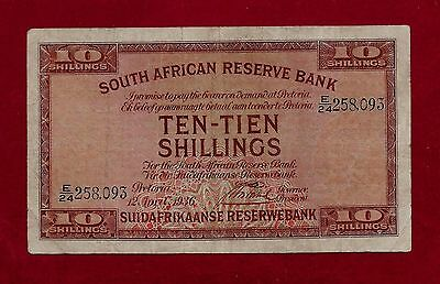 South Africa 10 Shillings 1936 P-82 F-Vf