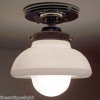 726 VINTAGE aRT DeCO 40's 50's Glass CEILING LIGHT LAMP Fixture  bath kitchen