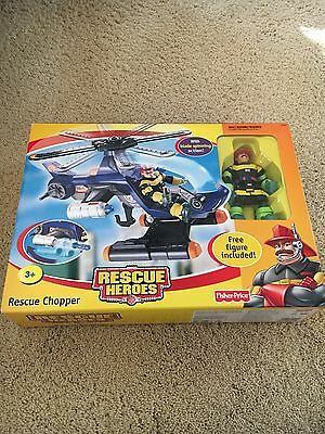 Fisher Price Rescue Heroes Rescue Chopper G8935 NEW 2004 with Figure Ships Fast!